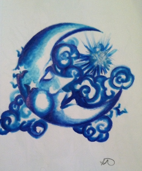 "(""Crescent Moon"". Wednesday 10/2/13. Start- 7:40 pm. End- 9:33 pm. Colored Pencil and Sharpie. Props to Ilonka  and the Last Unicorn for this one. (Have you guys noticed that I have to watch stuff while I draw? Why is that? I can't concentrate unless I'm multitasking...))"