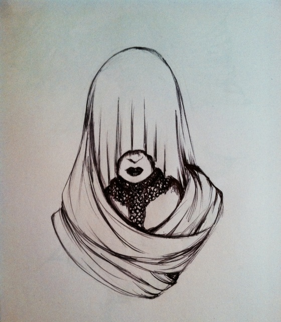 "(""Hooded Figure"". Friday 1/17/14. Pen.)"