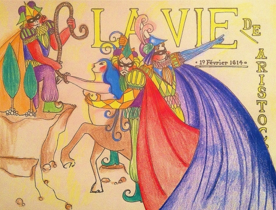 "(""La vie"". Wednesday 2/19/14. Sharpie and Colored Pencil. Inspired by vintage French magazine covers.)"